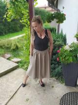 Sukne - Ľanová sukňa s vreckami - 11022075_