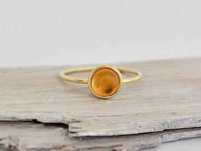 Prstene - 585/1000 zlatý prsteň s prírodným citrínom - 11024481_