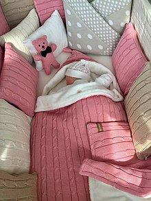 """Textil - Fusak,teplá deka,tenká deka a vankúšik, """"Vrkoč"""", OEKO-TEX® - púdrovo ružová - 11025500_"""