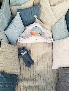 """Textil - Fusak,teplá deka,tenká deka a vankúšik, """"Vrkoč"""", OEKO-TEX® - šedá - 11025599_"""