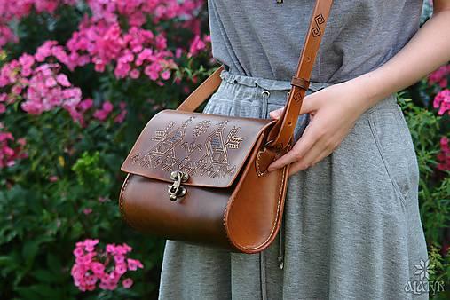 Kabelky - Kožená kabelka BOJANA •Čičmany• - 11023631_
