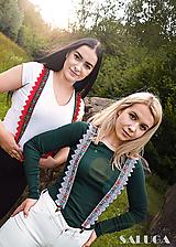 Doplnky - Dámske folklórne traky - červené alebo biele - folk - 11024771_
