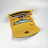 Peňaženky - Peňaženka Barborka - kvietky, bodky, žltá - 11025817_