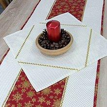 Úžitkový textil - KORNÉLIA(1) - Zlaté vločky na vínovej s bodkami - štvorcový obrus 40x40 - 11025570_