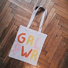Veľké tašky - Ručne maľovaná bavlnená taška / GRL PWR - 11025273_