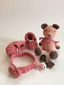 Detské súpravy - Súprava -macko ružový sympaťák - 11025531_