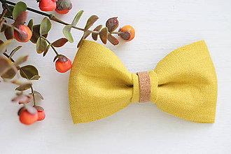 Doplnky - ľanový motýlik korkový - horčicová jeseň   miniberry - 11023858_