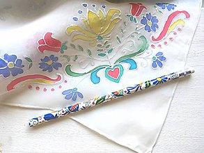 Šatky - ľudová hodvábna šatka + folk ceruzka   darčeková sada - 11023993_