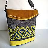 "Veľké tašky - Vyšívaná kabelka ""Žltomodrá výšivka"" - 11025347_"