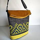 "Veľké tašky - Vyšívaná kabelka ""Žltomodrá výšivka"" - 11025348_"