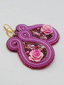 Náušnice - Šujtášové náušnice s ružičkou 2 - 11025342_