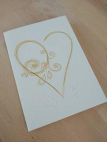 Papiernictvo - Svadobné blahoželanie srdce - 11023750_