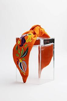 Ozdoby do vlasov - Čelenka oranžová vyšívaná - 11026424_