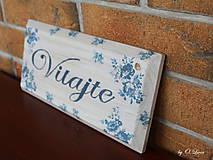 Tabuľky - Vitajte - modré ruže, ceduľka z masívu - 11025999_