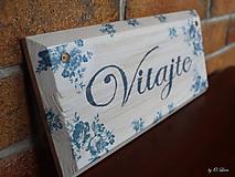 Tabuľky - Vitajte - modré ruže, ceduľka z masívu - 11026000_