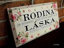 Tabuľky - Rodina - ružové ruže, ceduľka z masívu - 11026003_