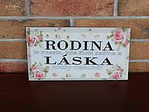 Tabuľky - Rodina - ružové ruže, ceduľka z masívu - 11026005_