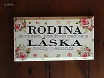 Tabuľky - Rodina - ružové ruže, ceduľka z masívu - 11026007_