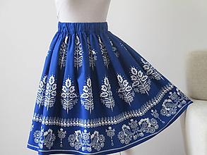 Sukne - Sukňa folk,modrá - 11026846_