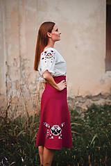 Sukne - Fuchsiová ľanová sukňa s výšivkou - 11026769_
