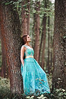 Šaty - Tyrkysové šaty s čipkou - 11028590_
