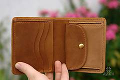 Peňaženky - Menšia kožená peňaženka IX. - 11027863_