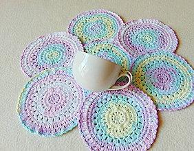 Úžitkový textil - Podšálky z dúhového klbka - 11027747_