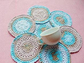 Úžitkový textil - Podšálky z dúhového klbka 2 - 11028032_