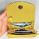 Peňaženky - Peňaženka Barborka - kvietky, bodky, žltá - 11026160_