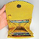 Peňaženky - Peňaženka Barborka - kvietky, bodky, žltá - 11026161_