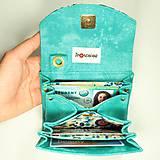 Peňaženky - Peňaženka Barborka - modrotyrkysová, zlatotlač - 11028843_