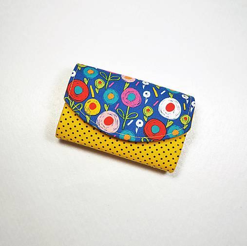 Peňaženka Barborka - kvietky, bodky, žltá