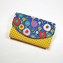 Peňaženky - Peňaženka Barborka - kvietky, bodky, žltá - 11025900_