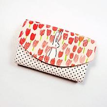 Peňaženky - Peňaženka Barborka - tulipány, zajačik a bodky - 11026185_