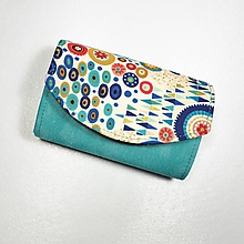 Peňaženky - Peňaženka Barborka - modrotyrkysová, zlatotlač - 11028837_