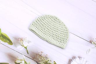Detské čiapky - Mentolová letná čiapka EXTRA FINE - 11026684_