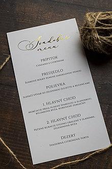 """Papiernictvo - Svadobné menu """"Jemná zlatá II."""" - 11028176_"""