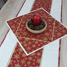 Úžitkový textil - KORNÉLIA(2) - Zlaté vločky na vínovej s bodkami - štvorcový obrus - 11027693_