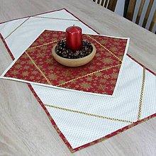 Úžitkový textil - KORNÉLIA(1) - Zlaté vločky na vínovej s bodkami - obdĺžnikový obrus 85x40 - 11028194_