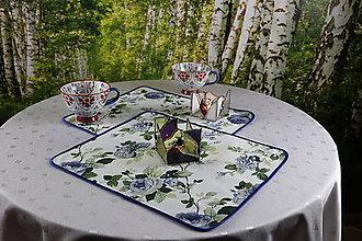Úžitkový textil - Prestieranie piknik v modrom - 11028903_