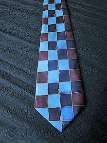 Doplnky - Kravata Modré čtverce - 11027228_