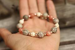 Náramky - DUO náramky slnečný kameň, jaspis, howlit - 11027040_