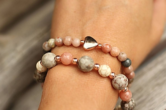 Náramky - DUO náramky slnečný kameň, jaspis, howlit - 11027039_