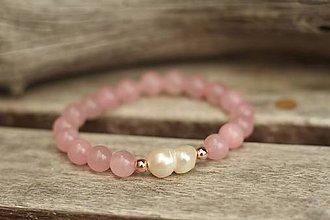 Náramky - Náramok z minerálu s riečnou perlou (Ružová) - 11027600_