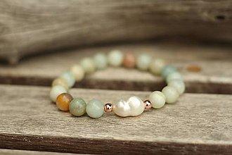 Náramky - Náramok z minerálu s riečnou perlou (Tyrkysová) - 11027601_
