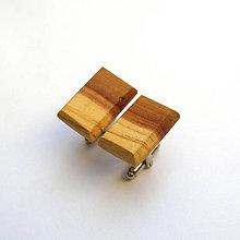 Šperky - Drevené manžetové gombíky - jabloňové dvojfarebné obdĺžničky - 11027372_