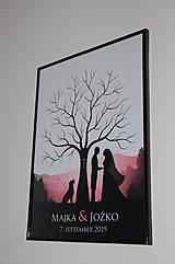 Papiernictvo - Svadobný strom A1 so siluetou 1 a psom - 11032132_