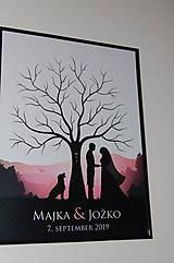 Papiernictvo - Svadobný strom A1 so siluetou 1 a psom - 11032133_