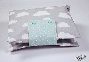 Detské doplnky - Organizér na plienky sivo-mentolový s obláčikmi - 11030549_