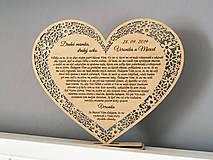 Darčeky pre svadobčanov - Poďakovanie rodičom srdiečko čipkované veľké - 11030667_